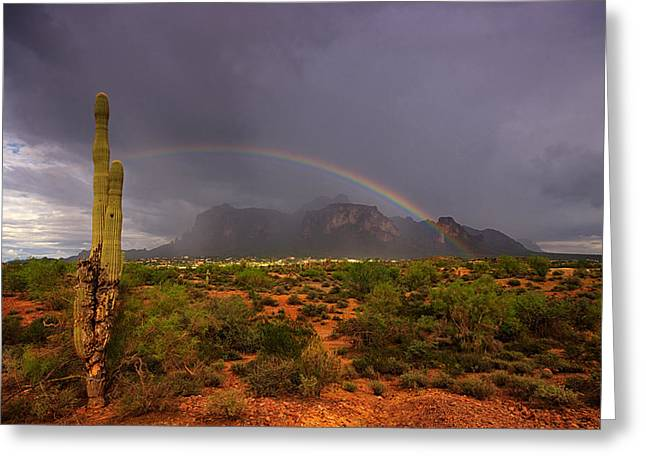 The Supes Greeting Cards - Just Over The Rainbow  Greeting Card by Saija  Lehtonen