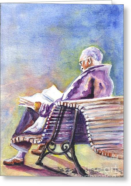 Senior Citizen Drawings Greeting Cards - Just Passing The Time Away Greeting Card by Carol Wisniewski