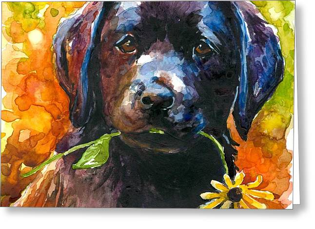 Black Lab Puppy Greeting Cards - Just Picked Greeting Card by Molly Poole