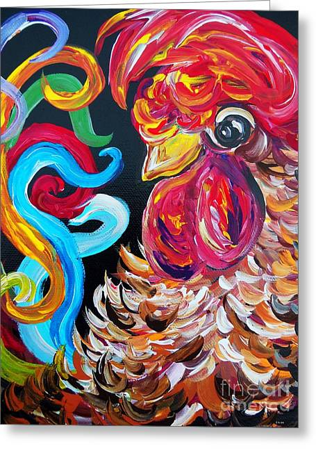 Bright Color Rooster Greeting Cards - Just Plain Silly Greeting Card by Eloise Schneider