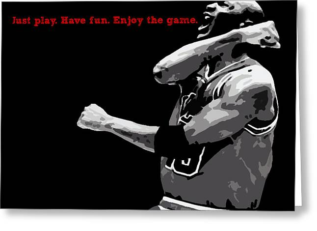 Michael Jordan Greeting Cards - Just Play Greeting Card by Mike Maher