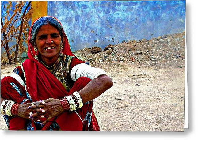 Shepherds Greeting Cards - Just Sitting 1a - Woman Portrait - Village India Rajasthan Greeting Card by Sue Jacobi