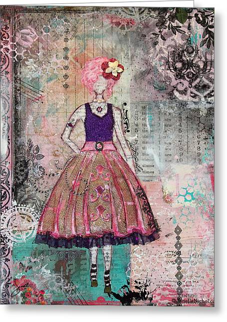 Janelle Nichol Greeting Cards - Just Smile Unique abstract Mixed Media artwork Greeting Card by Janelle Nichol