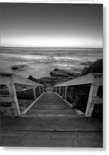 High Stepping Greeting Cards - Just Steps to the Sea    Black and White Greeting Card by Peter Tellone