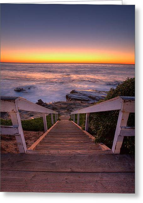High Stepping Greeting Cards - Just Steps to the Sea Greeting Card by Peter Tellone