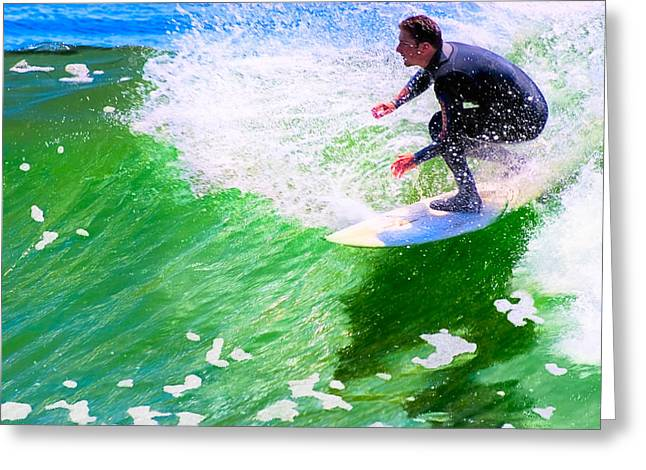 Blue Green Wave Greeting Cards - Just Surf - Santa Cruz California Surfing Greeting Card by Mark Tisdale
