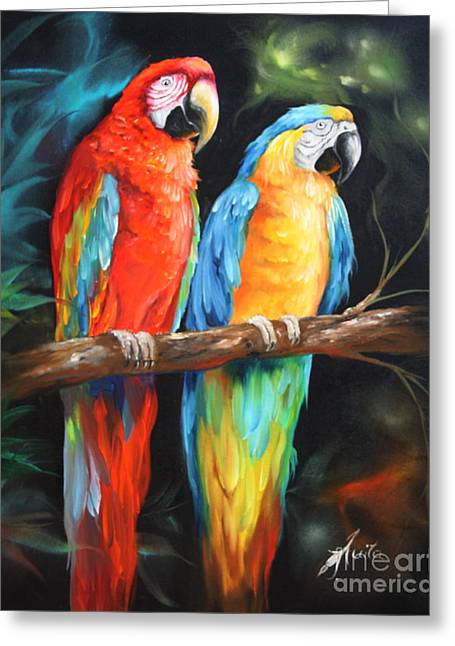 Macaw Art Print Greeting Cards - Just The Two Of Us Greeting Card by  ILONA ANITA TIGGES - GOETZE  ART and Photography