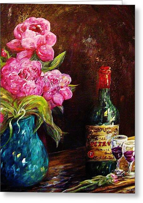 Wine For Two Greeting Cards - Just the Two of Us in Italy Greeting Card by Eloise Schneider