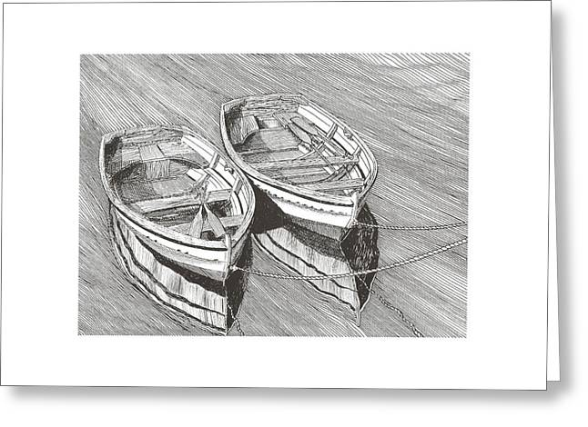 Pen And Ink Framed Prints Greeting Cards - Two Dinghy friends Just the two of us Greeting Card by Jack Pumphrey