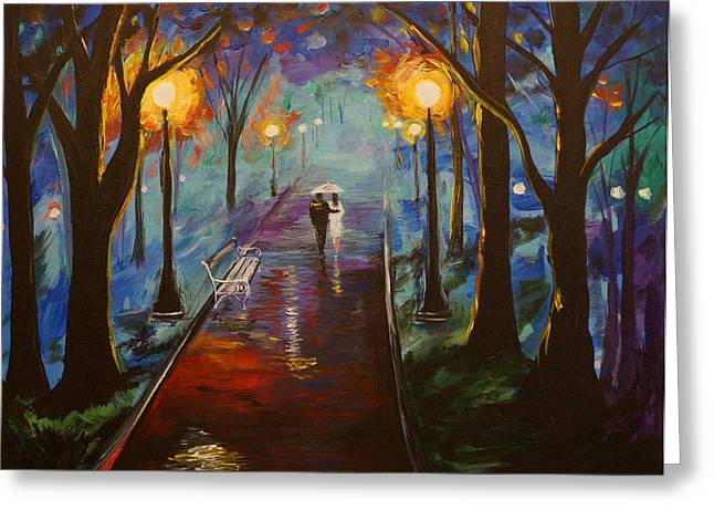 Lighted Pathway Greeting Cards - Just The Two Of Us Greeting Card by Leslie Allen