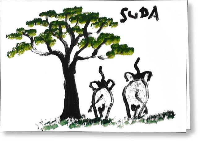 Next To Tree Greeting Cards - Prints Elephant Paintings - Just The Two Of Us Greeting Card by Phongsri Smeaton