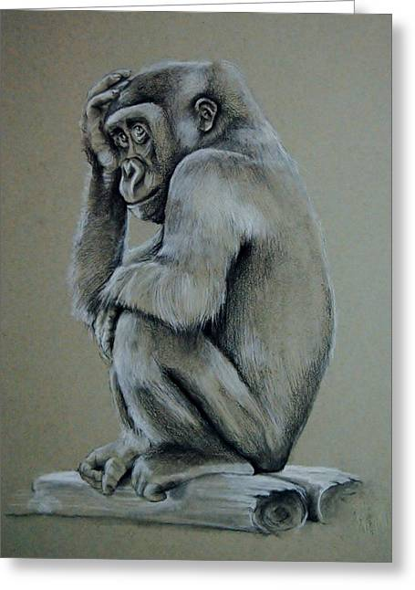 Gorilla Drawings Greeting Cards - Just Thinking Greeting Card by Jean Cormier