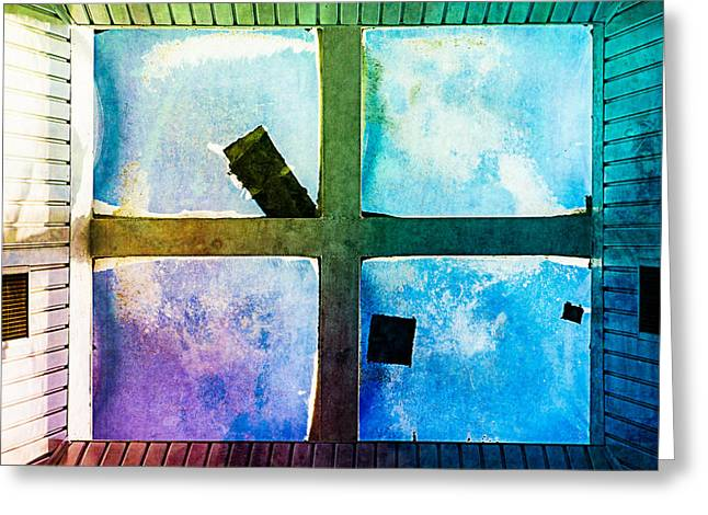Roof Covering Greeting Cards - Just Window 1 - Medium Greeting Card by Alexander Senin