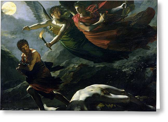 Morality Greeting Cards - Justice and Divine Vengeance pursuing Crime Greeting Card by Pierre-Paul Prud
