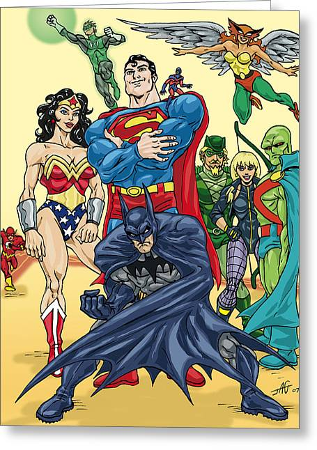 Comicbook Greeting Cards - Justice League Greeting Card by John Ashton Golden
