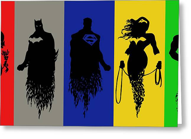 League Paintings Greeting Cards - Justice League Silhouettes Greeting Card by Ian  King