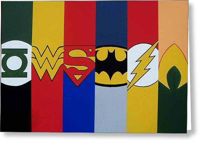 Justice League Greeting Cards - Justice Logos Greeting Card by Ian  King