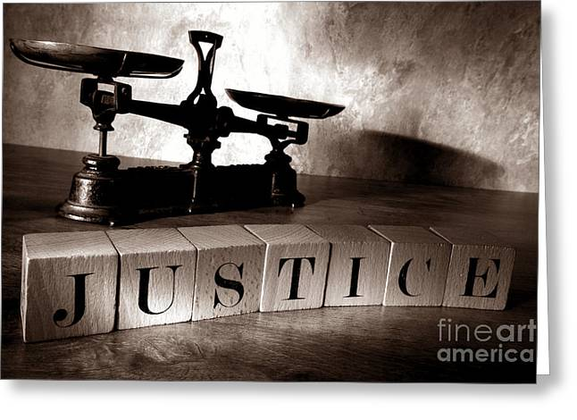 Spelled Greeting Cards - Justice Greeting Card by Olivier Le Queinec