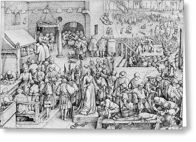 Executioner Greeting Cards - Justice Greeting Card by Pieter the Elder Bruegel