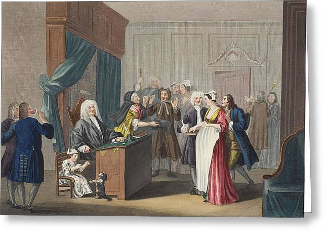 Justice Triumphs, Illustration Greeting Card by William Hogarth