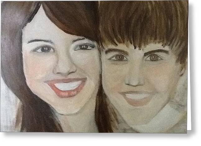 Justin Bieber Paintings Greeting Cards - Justin and Salena Greeting Card by Corinne Mcdonald