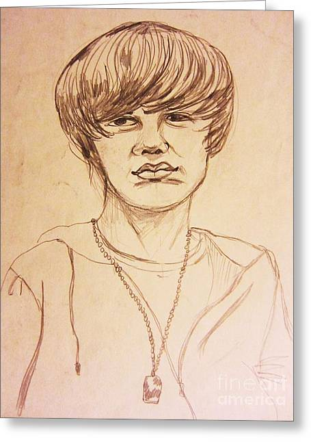Justin Bieber Drawing Greeting Cards - Justin Bieber 1 Greeting Card by Esther Rowden