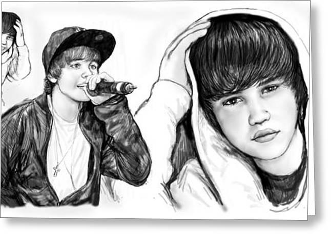 Justin Bieber Drawing Greeting Cards - Justin Bieber art long drawing sketch poster Greeting Card by Kim Wang