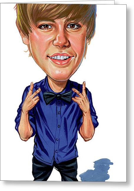 Singer Paintings Greeting Cards - Justin Bieber Greeting Card by Art