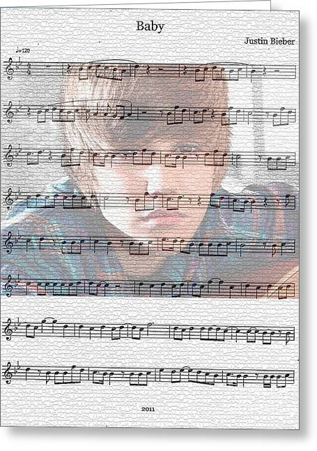 Justin Bieber Greeting Cards - Justin Bieber Baby Greeting Card by Marvin Blaine