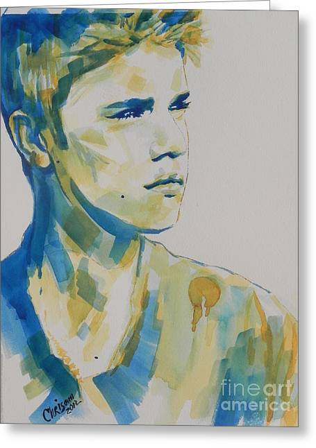 Justin Bieber Paintings Greeting Cards - Justin Bieber Greeting Card by Chrisann Ellis