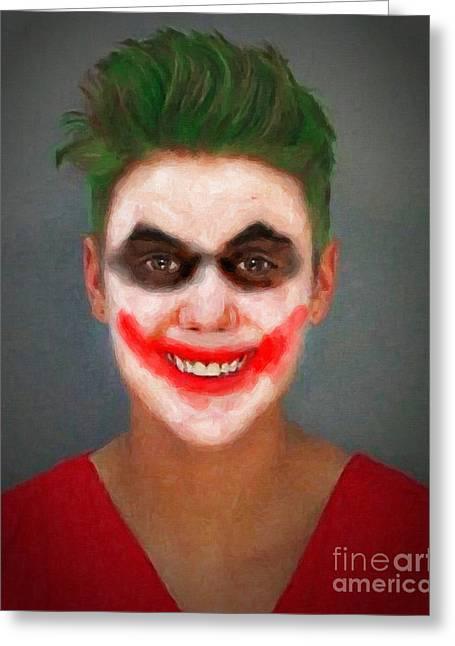 Justin Bieber Greeting Cards - Justin Bieber Joker Greeting Card by Antony McAulay