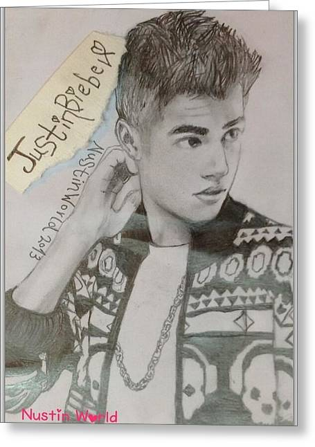 Justin Bieber Drawing Greeting Cards - Justin Bieber NEO Greeting Card by Nustin World