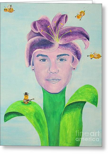 Justin Bieber Greeting Cards - Justin Bieber Painting Greeting Card by Jeepee Aero