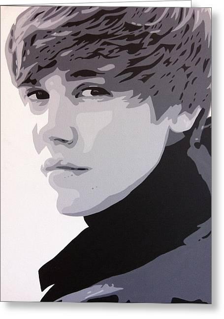 Justin Bieber Greeting Cards - Justin Bieber Greeting Card by Siobhan Bevans