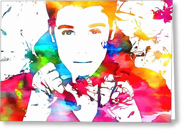 Recently Sold -  - Fame Greeting Cards - Justin Bieber Watercolor Paint Splatter Greeting Card by Dan Sproul