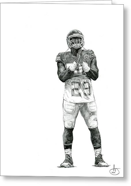 Kansas City Drawings Greeting Cards - Justin Houston - Berry Strong Greeting Card by Joshua Sooter