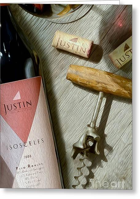 Vineyards Mixed Media Greeting Cards - Justin Isosceles Painting Greeting Card by Jon Neidert