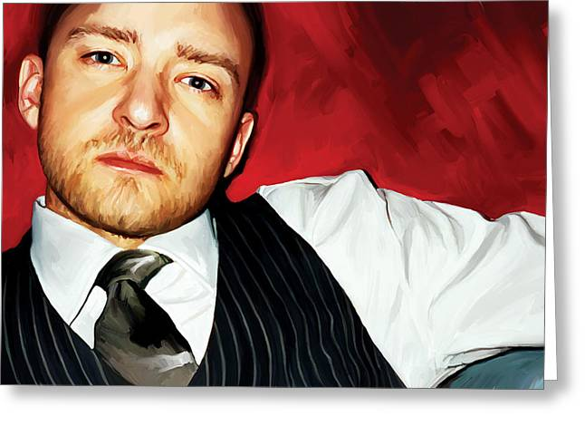 Singer Songwriter Greeting Cards - Justin Timberlake Artwork Greeting Card by Sheraz A