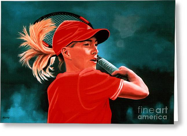 French Open Paintings Greeting Cards - Justine Henin  Greeting Card by Paul  Meijering