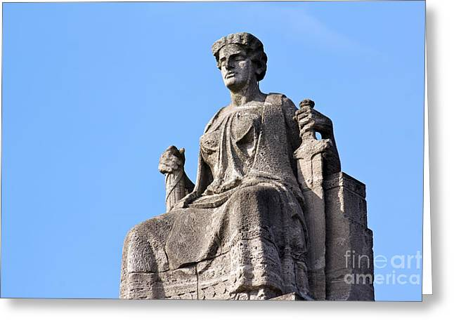Discrimination Greeting Cards - Justitia on Her Throne before a Clear Blue Sky Greeting Card by Jannis Werner