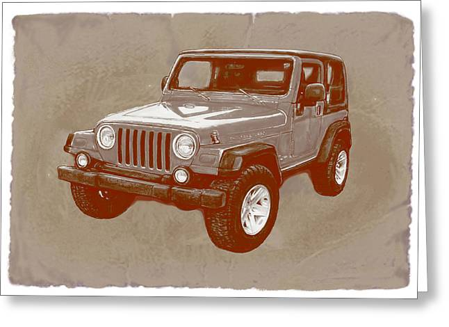 Fine Mixed Media Greeting Cards - Justjeepns 2005 Jeep Wrangler Rubicon car art sketch poster Greeting Card by Kim Wang