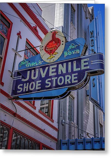 Saloons Greeting Cards - Juvenile Shoe Store Vintage Sign Greeting Card by Joan Carroll