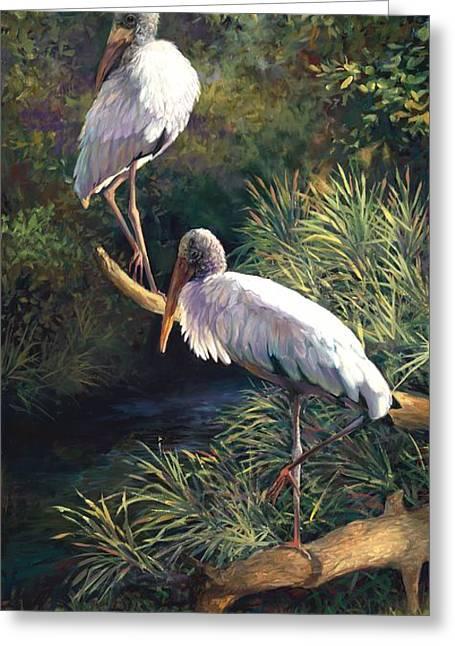 Juvenile Paintings Greeting Cards - Juvenile Woodstorks Greeting Card by Laurie Hein