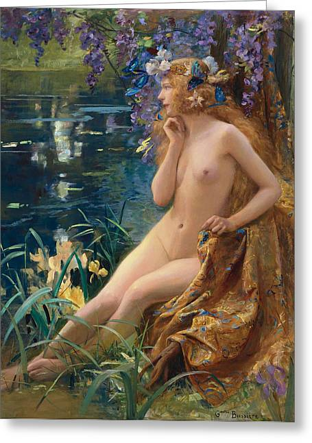 Dance Of The Veils Greeting Cards - Juventa Greeting Card by Gaston Bussiere