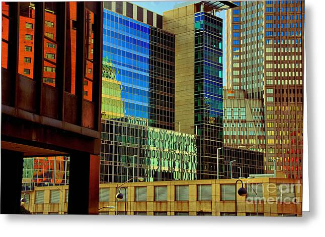 Mirrored Greeting Cards - Juxtaposition of Pittsburgh Buildings Greeting Card by Amy Cicconi