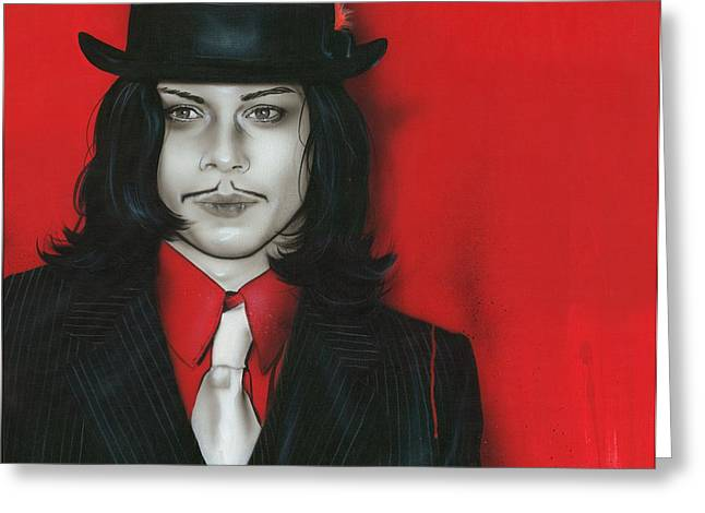The White Stripes Greeting Cards - j.w. Greeting Card by Christian Chapman Art