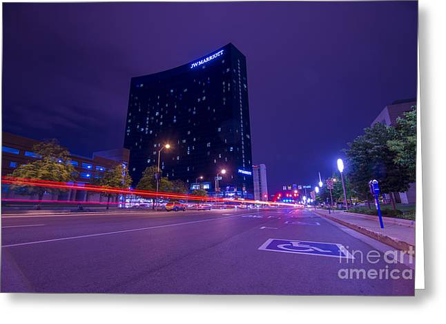 Indianapolis 500 Greeting Cards - JW Marriott Light Streaks Greeting Card by David Haskett