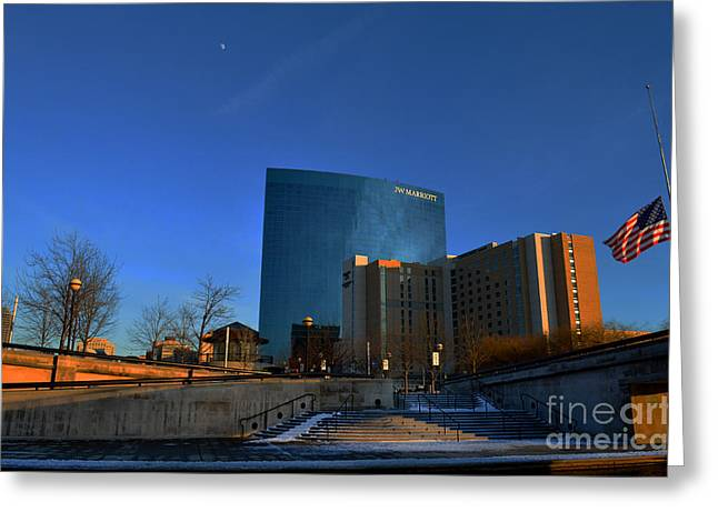 Jw Marriott Greeting Cards - JW Marriott On The Canal Indianapolis Greeting Card by David Haskett