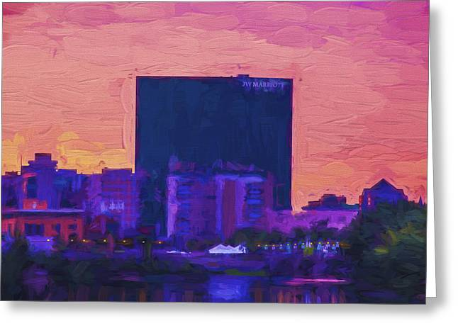 Miller Park Greeting Cards - JW Marriott Painted Digitally Indianapolis Indiana  9900 Greeting Card by David Haskett