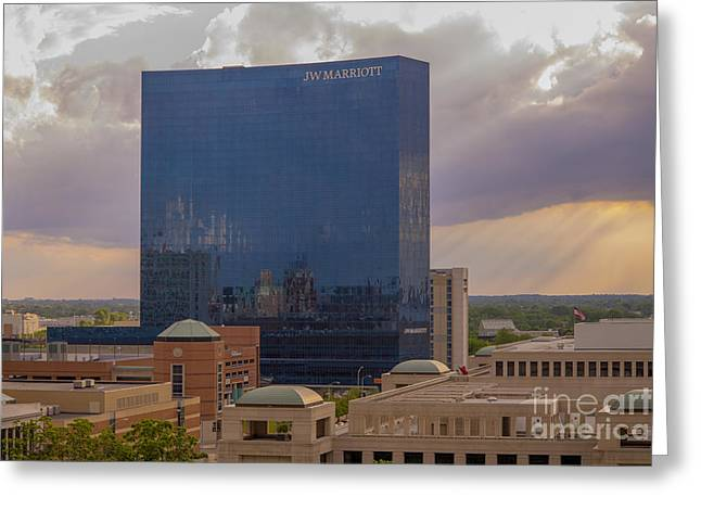 Indiana Scenes Greeting Cards - JW Marriott Sunset May 2013 Greeting Card by David Haskett
